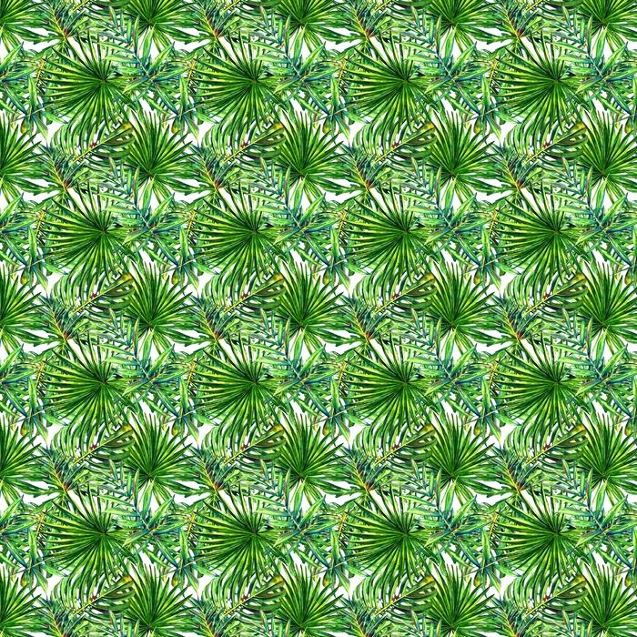 Sömlöst blommönster med vattenfärg tropiska palmblad. djungel lövverk på vit bakgrund. textil design.