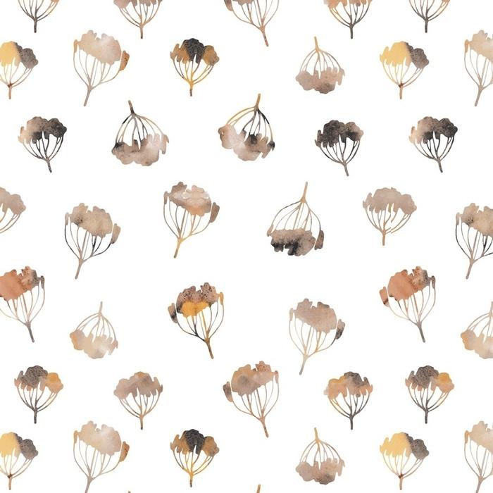 Afwasbaar behang, op maat gemaakt Aquarel naadloze patroon met takken. vector botanische illustratie. - Bloemen en Planten