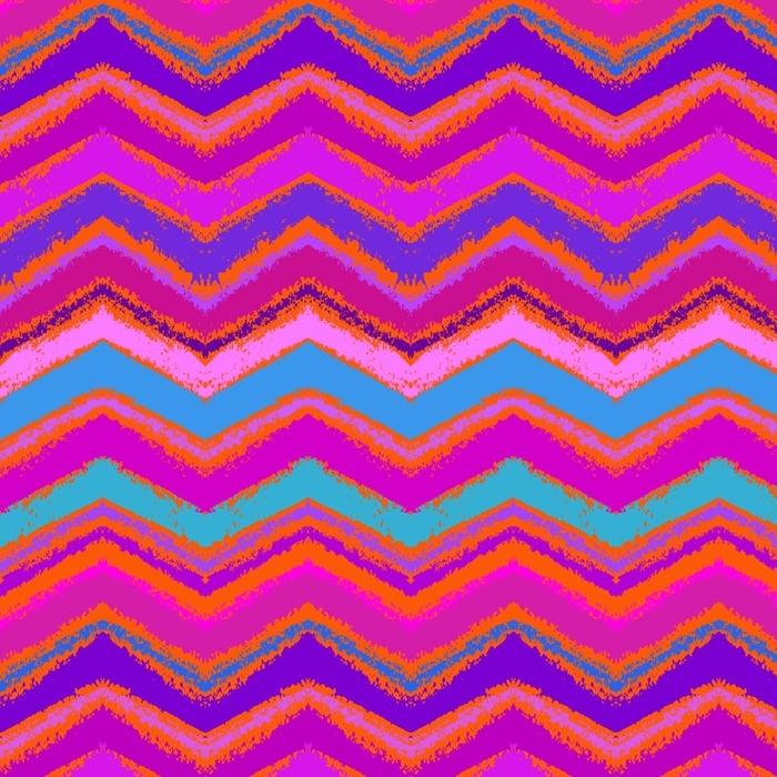 Papier peint lavable sur mesure Modèle de zigzag dessiné à la main en rose vif. - Ressources graphiques