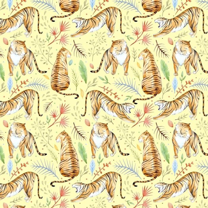 Afwasbaar behang, op maat gemaakt Aquarel tropische patroon - Dieren