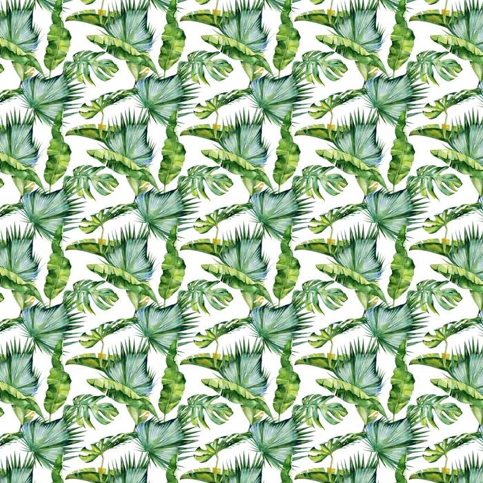 Bezszwowych akwareli ilustracji tropikalnych liści, gęste dżungli. Wzór z motywem lato tropików może być używany jako tekstura tła, papier pakowy, tekstylia, projekt tapety.