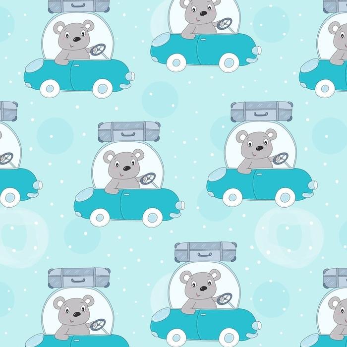 Papier peint lavable sur mesure Modèle sans couture avec mignon ours teddi dans l'illustration vectorielle de voiture - Animaux