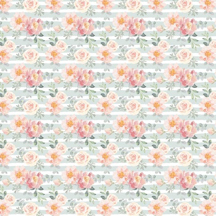 Jasnoróżowe róże i piwonie z szarymi liśćmi na tle paski. wektor wzór. romantyczne kwiaty ogrodowe ilustracji. wyblakłe kolory.
