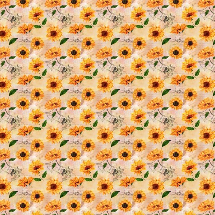Wzór z akwarela słoneczniki na stary efemeryda