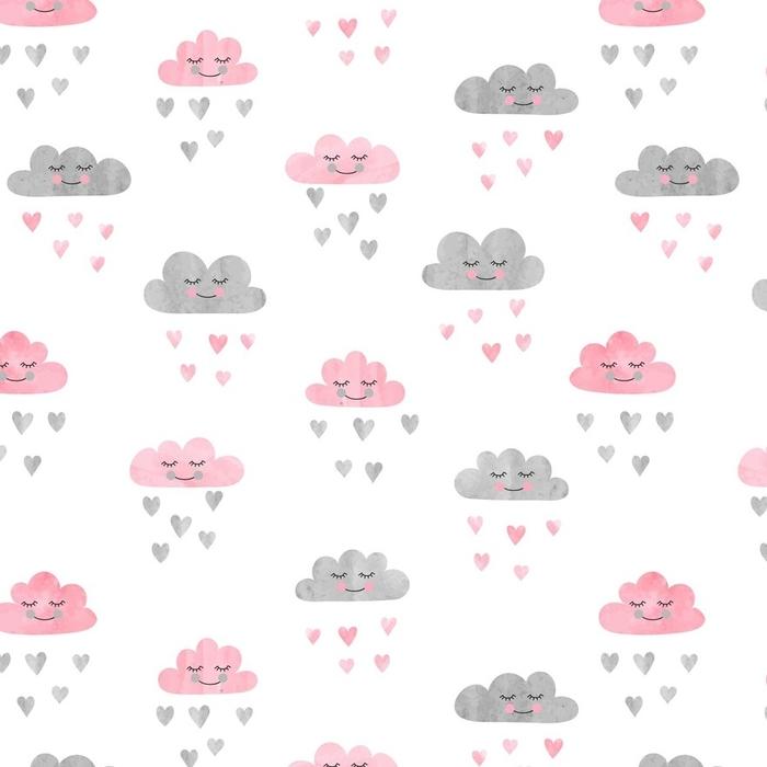 Afwasbaar behang, op maat gemaakt Naadloze patroon met aquarel wolken en regen van harten. vectorillustratie - Grafische Bronnen