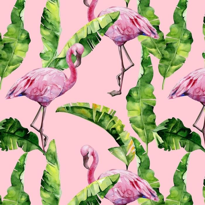 Afwasbaar behang, op maat gemaakt Tropische bladeren, dichte jungle. banaan palm verlaat naadloze aquarel illustratie van tropische roze flamingo vogels. trendy patroon met tropisch zomermotief. exotische Hawaï kunst achtergrond. - Grafische Bronnen