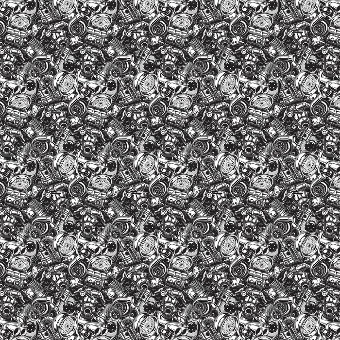 Automobile car parts seamless pattern with monochrome black and white elements background. Washable custom-made wallpaper - Transport
