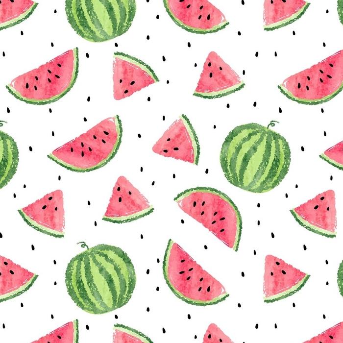 Afwasbaar behang, op maat gemaakt Aquarel watermeloenen patroon. naadloze vector achtergrond. - Eten