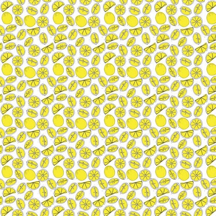 Mano de limón amarillo dibujar patrones sin fisuras con textura ligera