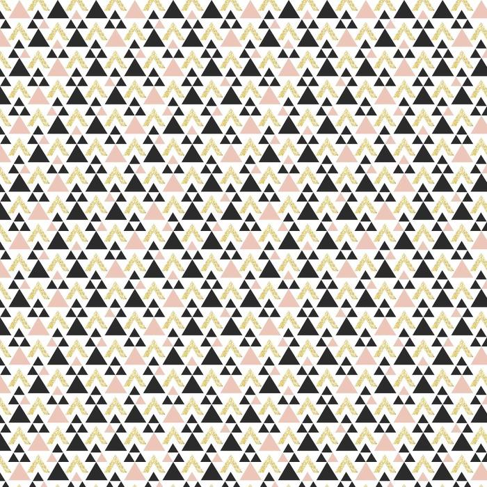 Abwaschbare Tapete nach Maß Gold geometrisches Dreieck Hintergrund. Zusammenfassung nahtlose Muster mit Dreiecken in Gold und dunkelgrau. - Grafische Elemente
