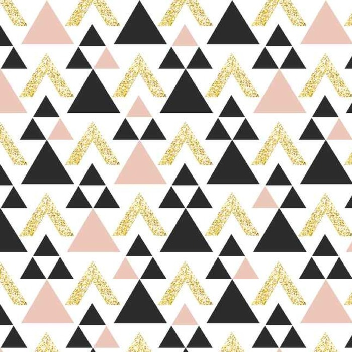 Afwasbaar behang, op maat gemaakt Gold geometrische driehoek achtergrond. Abstract naadloos patroon met driehoeken in goud en donkergrijs. - Grafische Bronnen