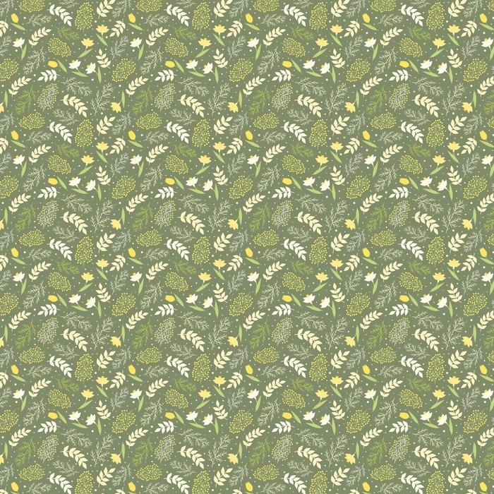 Patrón sin costuras Fondo de primavera de bosque de la flor. ramas verdes y hojas, narcisos, Galanthus, mimosa y tulipanes sobre un fondo verde, ilustración vectorial.