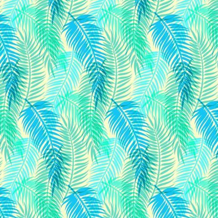 Afwasbaar behang, op maat gemaakt Exotische tropische palmbladeren. Naadloze abstract vector pattern - Grafische Bronnen