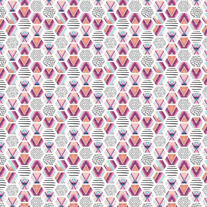 Abwaschbare Tapete nach Maß Wasserfarbe Sechseck nahtlose Muster mit ornamentalen Elementen geometrischen - Grafische Elemente