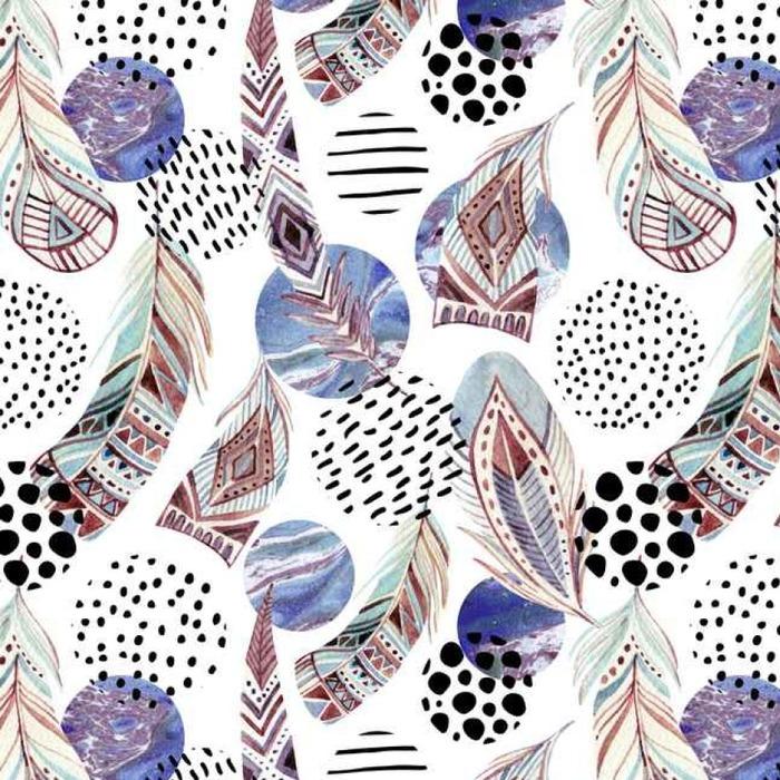 Papier peint lavable sur mesure Plumes tribales aquarelle seamless avec des formes abstraites en marbre et grunge - Ressources graphiques