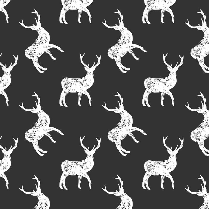 Afwasbaar behang, op maat gemaakt Herten naadloze patroon - Grafische Bronnen