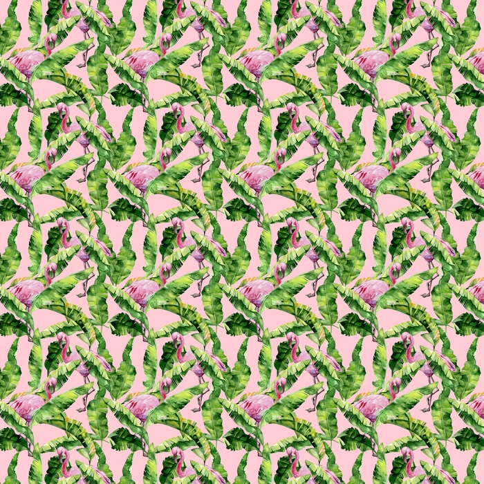 Hojas tropicales, selva densa. hojas de palma de plátano ilustración acuarela transparente de aves tropicales de flamenco rosa. patrón de moda con motivo trópico de verano. Fondo de arte hawaii exótico.