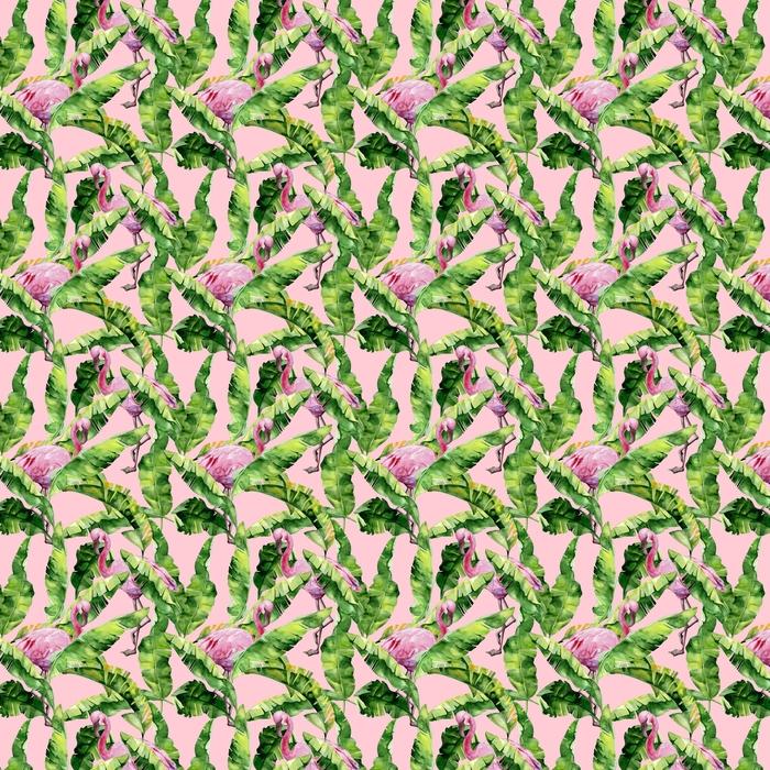 Tropikalne liście, gęsta dżungla. palma bananowca pozostawia bez szwu akwarela ilustracja tropikalnych różowych ptaków flamingo. modny wzór z motywem tropic summertime. egzotyczne tło sztuki Hawajów.