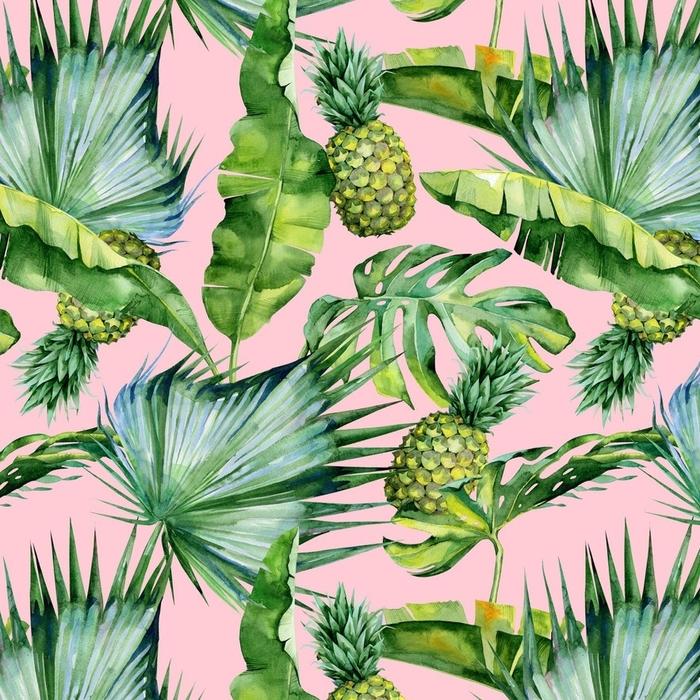 Afwasbaar behang, op maat gemaakt Naadloze aquarel illustratie van tropische bladeren en ananas, dichte jungle. patroon met tropic zomer motief kan worden gebruikt als achtergrondstructuur, inpakpapier, textiel, behang ontwerp. - Bloemen en Planten