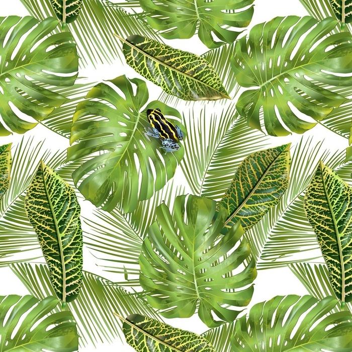 Afwasbaar behang, op maat gemaakt Tropisch bladerenpatroon - Bloemen en Planten