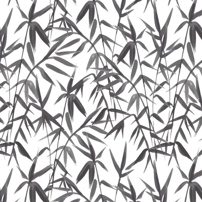 Afwasbaar behang, op maat gemaakt Bamboe naadloze patroon op groene achtergrond in Japanse stijl, licht verse bladeren, zwart en wit realistische ontwerp, vectorillustratie - Bloemen en Planten