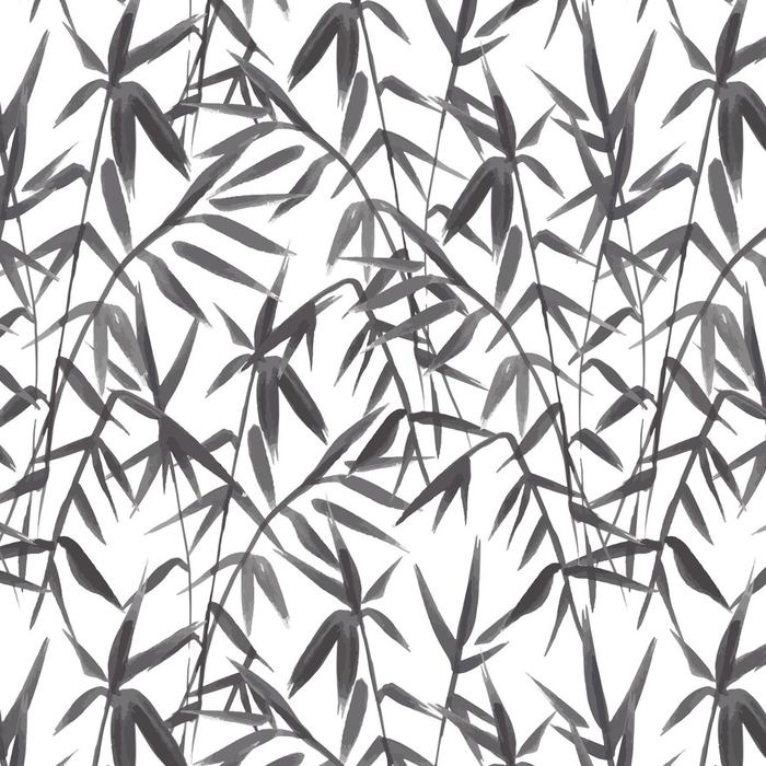 Papier peint lavable sur mesure Modèle sans couture de bambou sur fond vert dans un style japonais, légères feuilles fraîches, design réaliste noir et blanc, illustration vectorielle - Plantes et fleurs