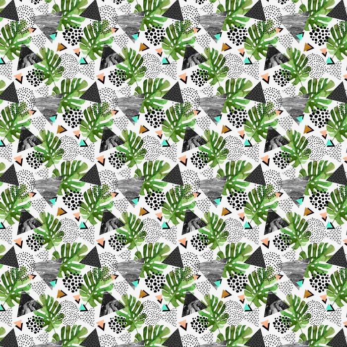 Abwaschbare Tapete nach Maß Tropische Blätter des Aquarells und strukturierte Dreiecke Hintergrund - Grafische Elemente
