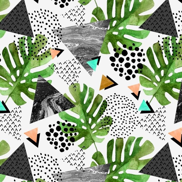 Afwasbaar behang, op maat gemaakt Aquarel tropische bladeren en gestructureerde driehoekjes achtergrond - Grafische Bronnen