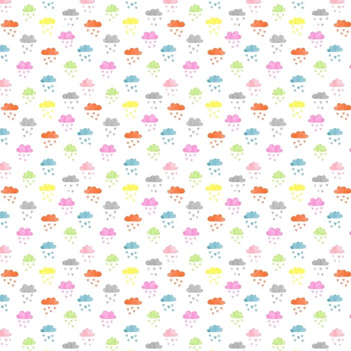 Patrón de coloridas nubes de acuarela sin fisuras. lluvia de corazones ilustración vectorial