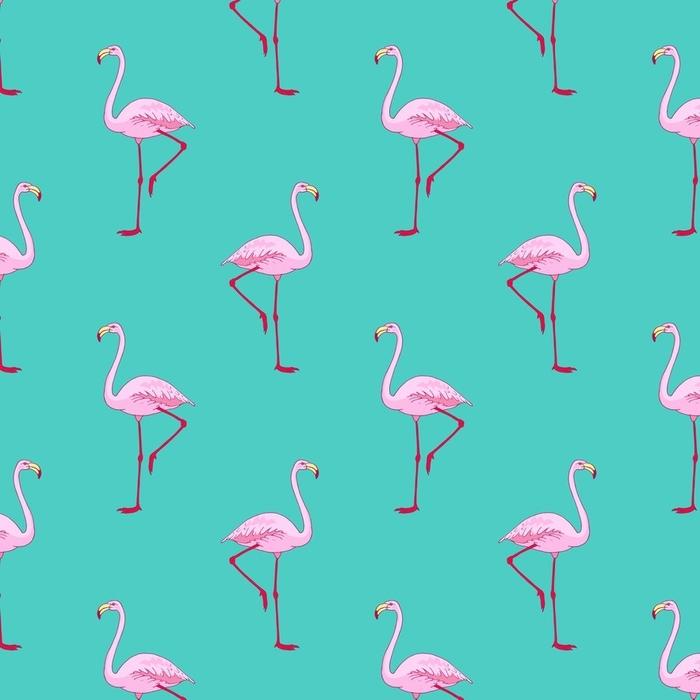 Afwasbaar behang, op maat gemaakt Vector roze flamingo vogel naadloze patroon. hand getrokken schets met het wilde dier - Dieren