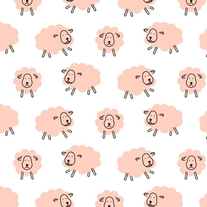 Afwasbaar behang, op maat gemaakt Schattig sheeps meisjesachtig baby naadloze vector patroon. zachtroze dier ontwerp voor swaddle deken en kleding stof. - Grafische Bronnen