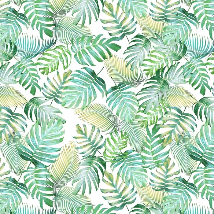 Afwasbaar behang, op maat gemaakt Tropische bladeren naadloze patroon van monstera philodendron en palm bladeren in licht groen-gele kleurtoon, tropische achtergrond. - Grafische Bronnen