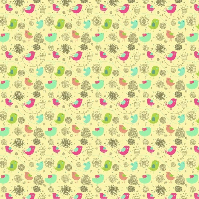 Ładne tło wiosna - ptaki kreskówek w kwiaty