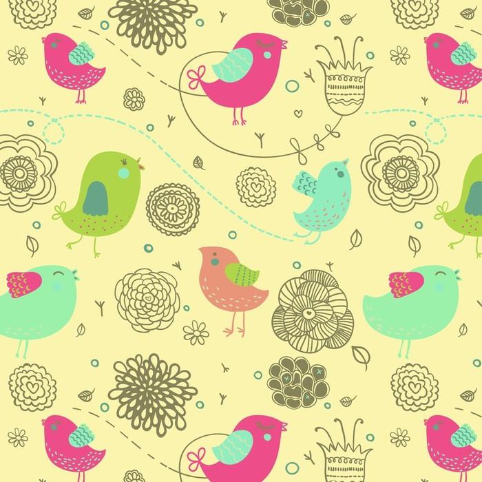 Afwasbaar behang, op maat gemaakt Mooie lente achtergrond - cartoon vogels in bloemen - Stijlen