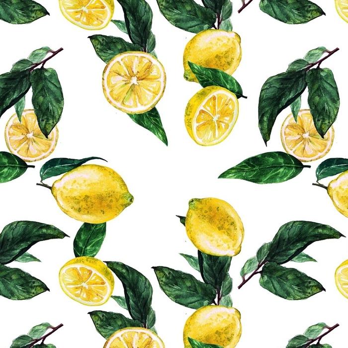 Papier peint lavable sur mesure Citrons. modèle sans couture aquarelle. - Ressources graphiques