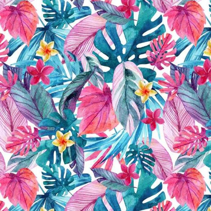 Afwasbaar behang, op maat gemaakt Waterverf exotische bladeren en bloemen achtergrond. - Planten en bloemen