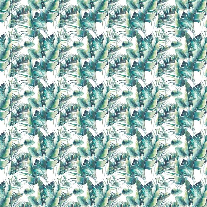 Verano palmera y hojas de plátano de patrones sin fisuras. textura de acuarela con ramas verdes sobre fondo blanco. diseño de papel tapiz tropical dibujado a mano