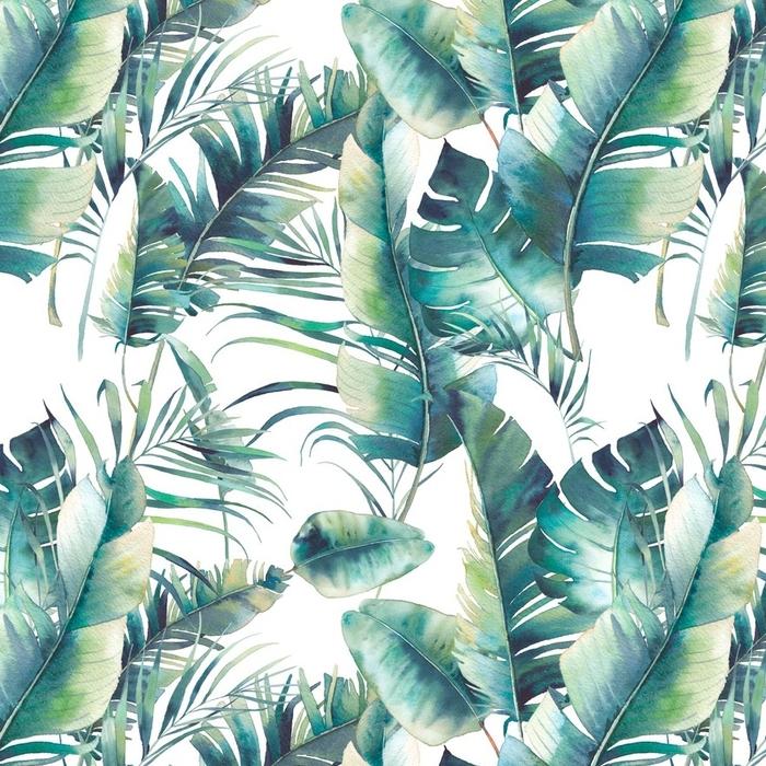 Afwasbaar behang, op maat gemaakt Zomer palmboom en bananenbladeren naadloze patroon. waterverftextuur met groene takken op witte achtergrond. hand getekend tropisch behang ontwerp - Bloemen en Planten