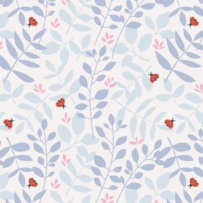 Papier peint lavable sur mesure Modèle sans couture avec différentes feuilles et coccinelles - Plantes et fleurs