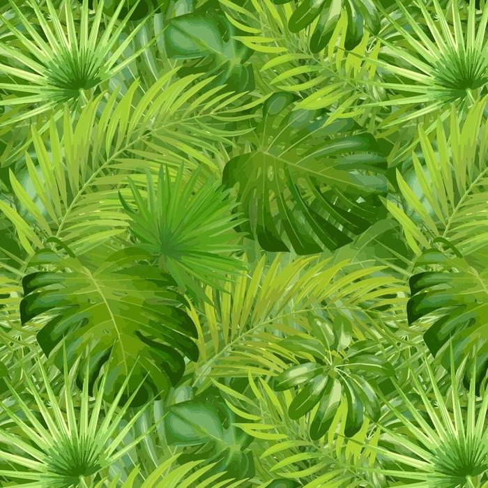 Afwasbaar behang, op maat gemaakt Tropische palmbladeren, jungle blad naadloze vector bloemmotief achtergrond - Grafische Bronnen