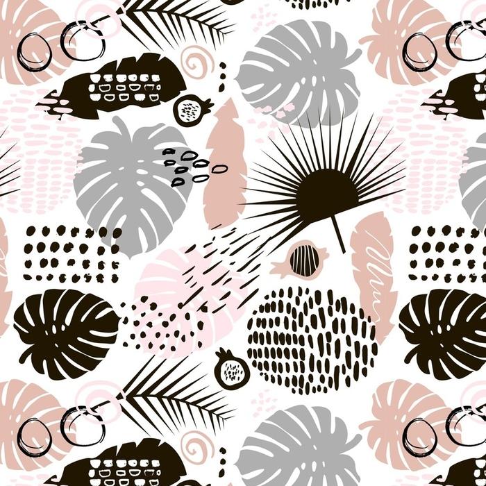 Papier peint lavable sur mesure Modèle sans couture branche de palm branche avec des éléments dessinés à la main. fond de feuille de monstera. idéal pour le tissu, illustration vectorielle textile - Ressources graphiques