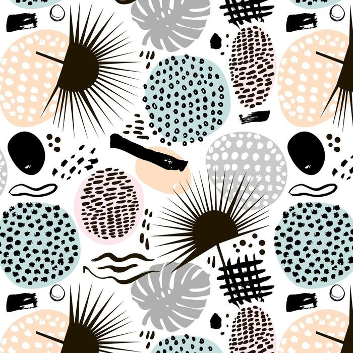 Afwasbaar behang, op maat gemaakt Palmtak trendy naadloze patroon met hand getrokken elementen. monstera blad achtergrond. geweldig voor stof, textiel vectorillustratie - Grafische Bronnen