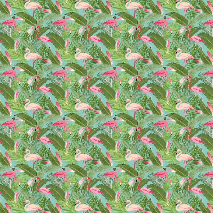 Vector tropical inconsútil flamenco y patrón de verano floral. para fondos de pantalla, fondos, texturas, textiles, tarjetas.