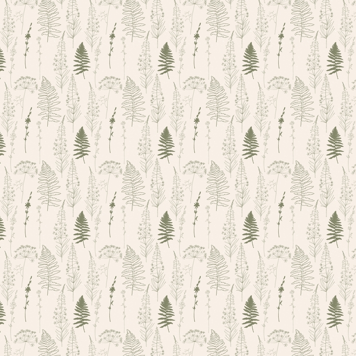 Vector de patrones sin fisuras con dibujado a mano achicoria, eneldo o hinojo flores, fireweed y hojas de helecho. líneas finas flores y siluetas de plantas en color caqui verde sobre fondo beige con textura desgastada.