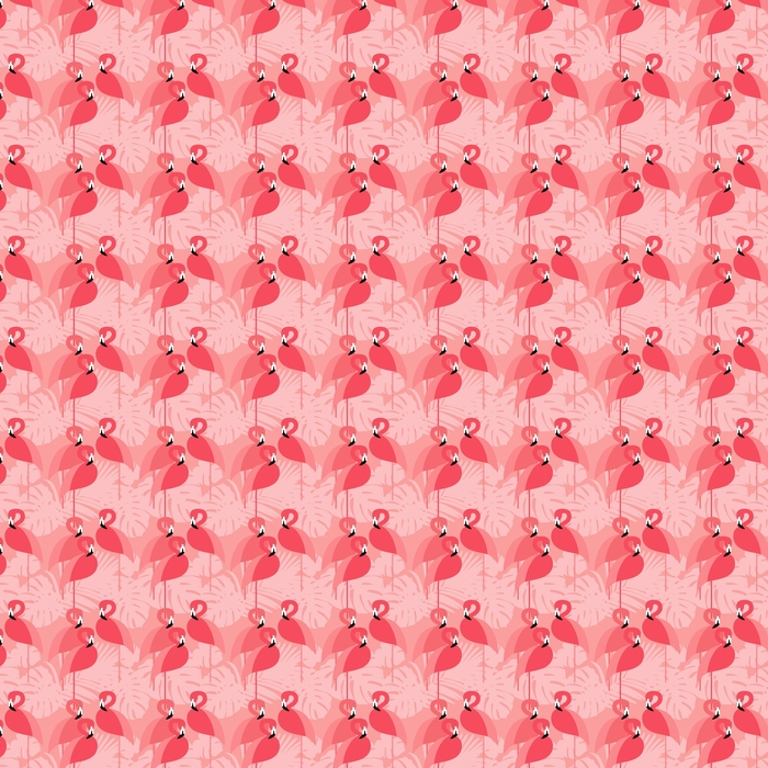 Seamless vector background. Pink Flamingo on a tropical background. Washable custom-made wallpaper - Graphic Resources