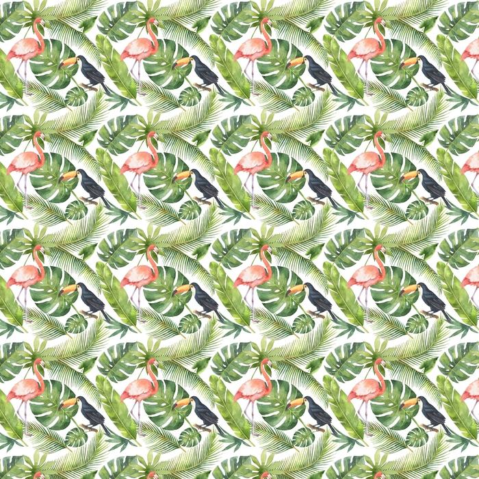 Abwaschbare Tapete nach Maß Nahtloses Muster des Aquarells der Kokosnuss- und Palmen getrennt auf weißem Hintergrund. - Pflanzen und Blumen