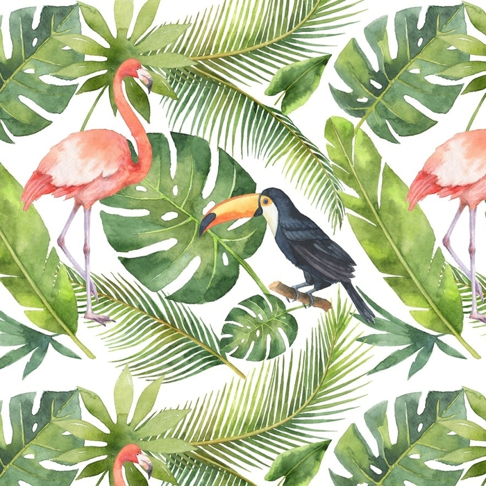 Afwasbaar behang, op maat gemaakt Aquarel naadloze patroon van kokos en palmbomen geïsoleerd op een witte achtergrond. - Bloemen en Planten