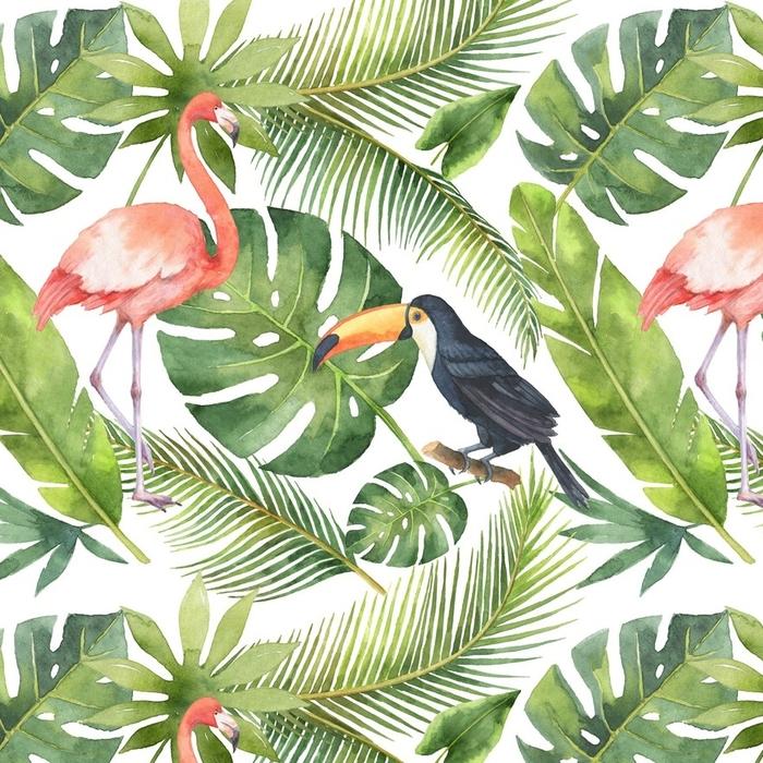 Papier peint à motifs lavable Aquarelle transparente motif de noix de coco et de palmiers isolés sur fond blanc. - Plantes et fleurs