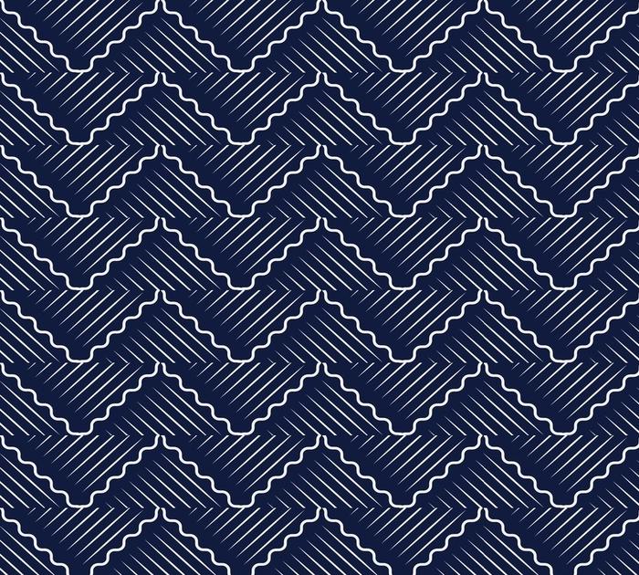 Afwasbaar behang, op maat gemaakt Naadloze blauwe chinese achtergrond oosterse curve Golf kruis meetkunde lijn - Grafische Bronnen