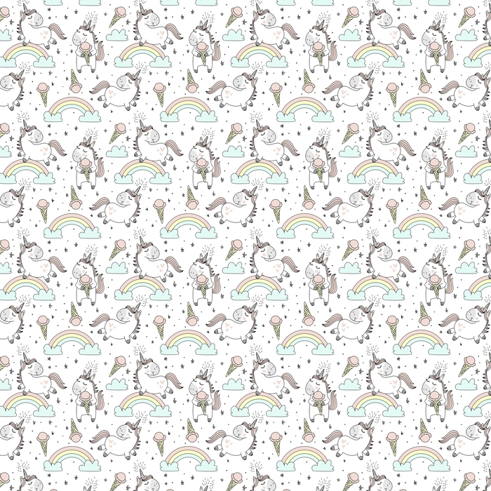 Vector pattern with cute unicorns, clouds,rainbow and stars. Magic background with little unicorns. Washable custom-made wallpaper - Hobbies and Leisure